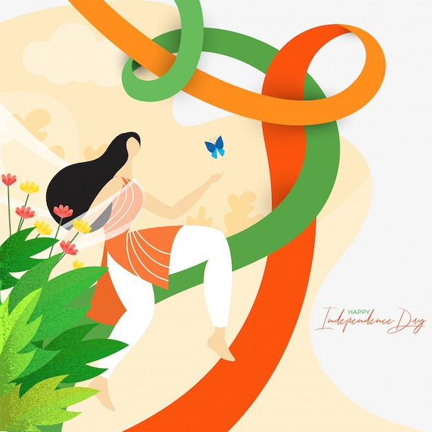 Indian woman running with butterfly on nature view background for happy independence day celebration. Premium Vector
