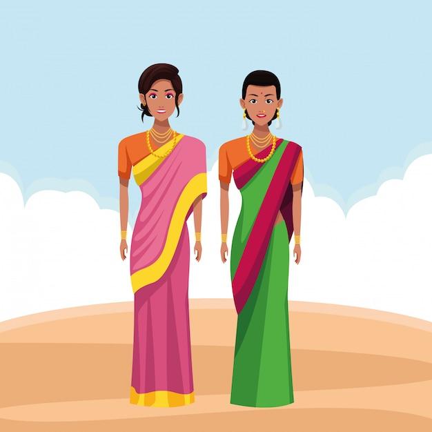Premium Vector Indian Women Avatar Cartoon Character