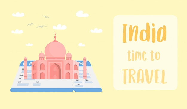 Indian world famous landmark vector banner layout. Premium Vector