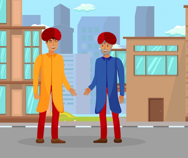 Indians conversation color vector illustration Premium Vector