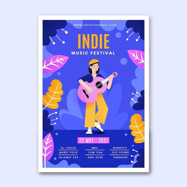 Инди-иллюстрированный музыкальный шаблон постера Бесплатные векторы