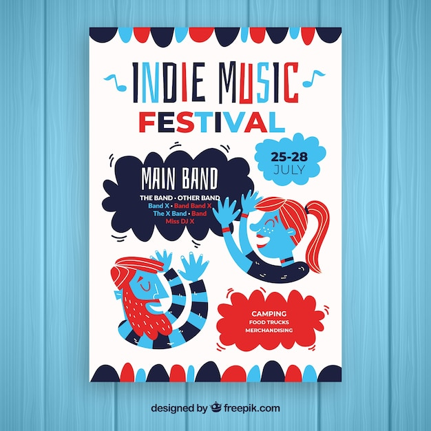 Indie music party poster template Free Vector