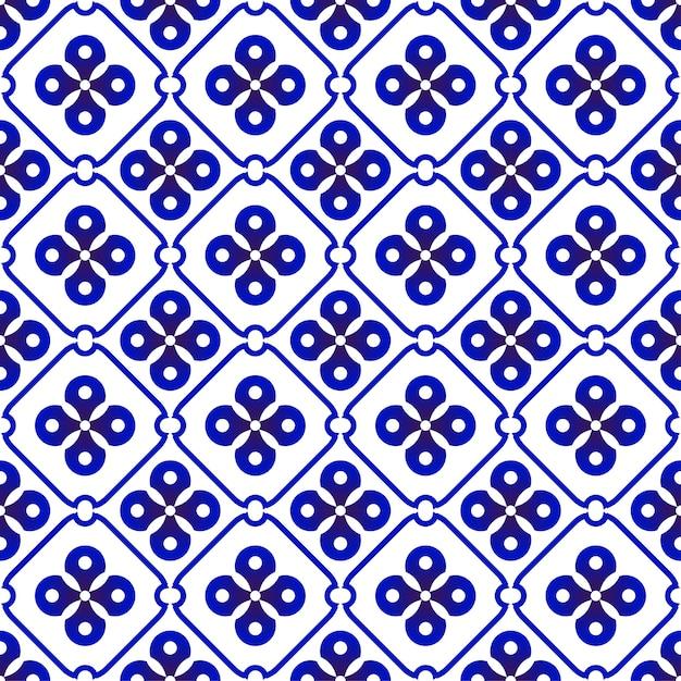 Indigo batik pattern Premium Vector