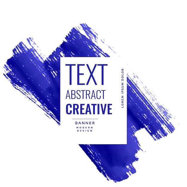 Indigo blue brush stroke banner with copyspace Free Vector