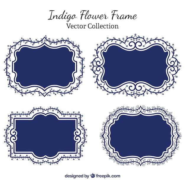 Indigo floral frames Free Vector