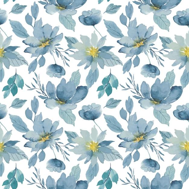 Indigo floral watercolor seamless pattern Premium Vector