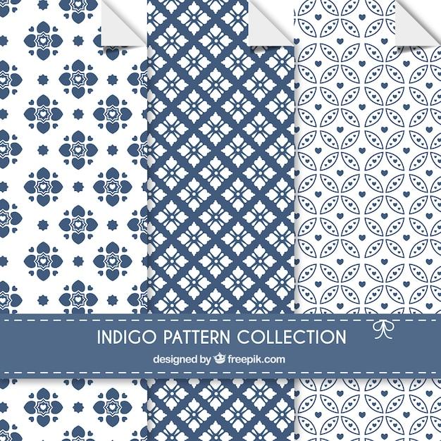 Indigo patterns collection Free Vector