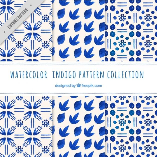 Indigo patterns, watercolor Free Vector