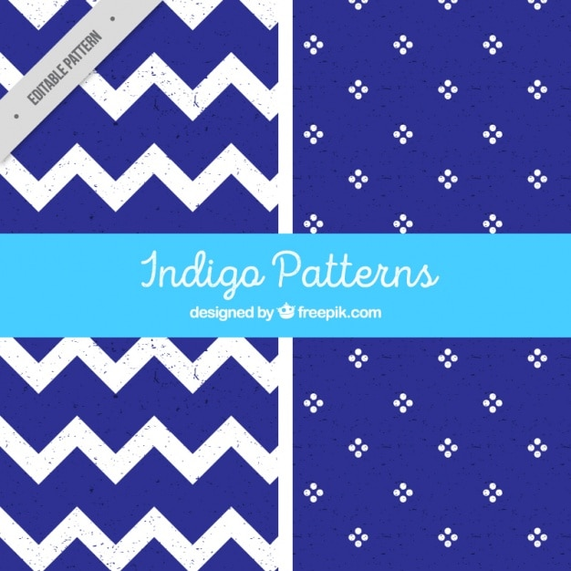 Indigo patterns Free Vector