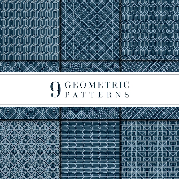 Indigo tie-dyed geometric pattern collection Free Vector