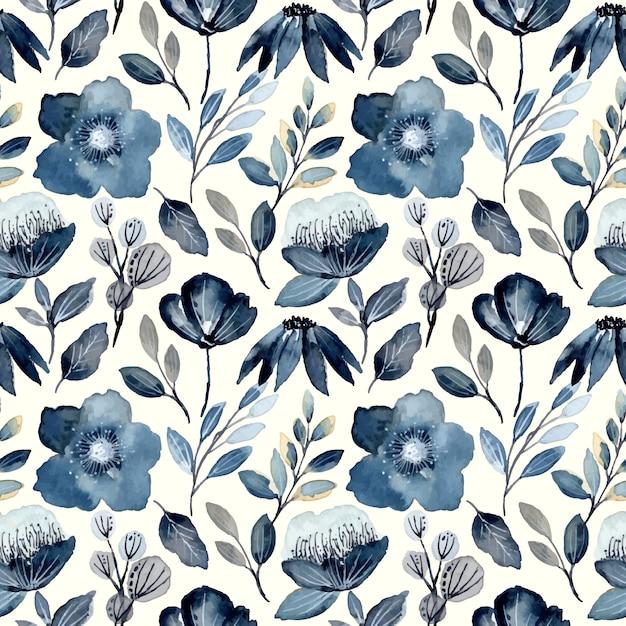 Indigo watercolor floral seamless pattern Premium Vector