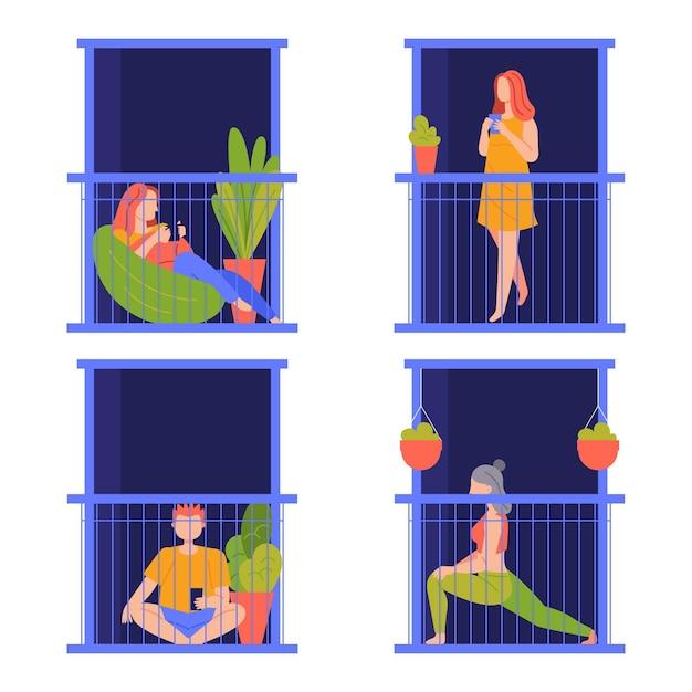 Individui che svolgono varie attività sul balcone Vettore gratuito