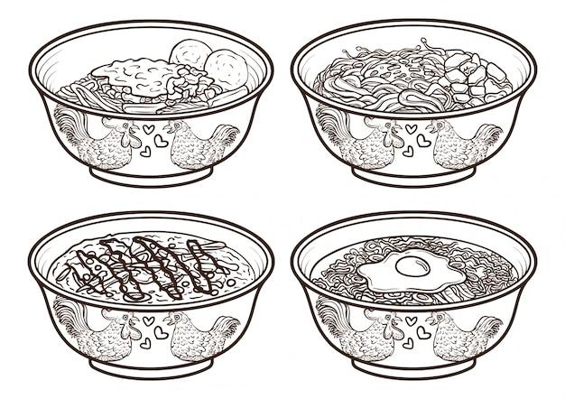 Indonesia asia food outline illustrations Premium Vector