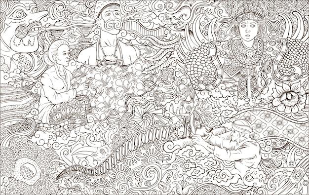 Indonesia culture outline  illustration Premium Vector