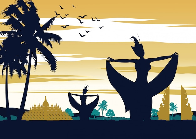 Indonesia dance show on sunset time,famous performance Premium Vector
