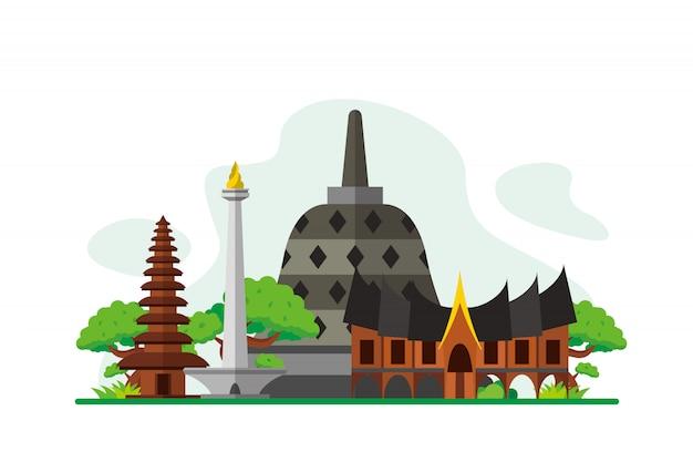 Indonesia famous landmarks background Premium Vector
