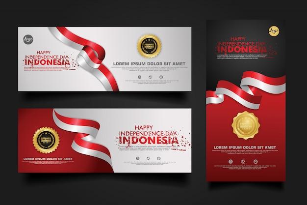 Indonesia independence day celebration, banner set design template illustration Premium Vector
