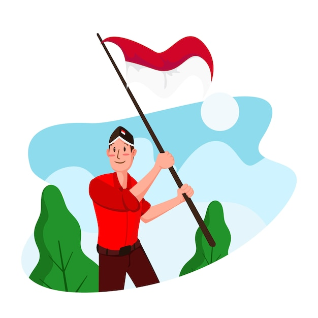 Indonesia independence day  flat  illustration Premium Vector