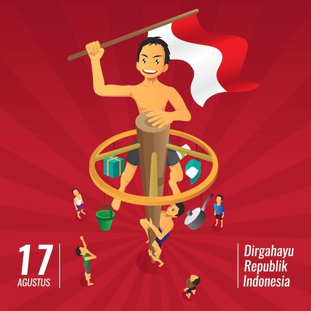 Indonesia independence day games, panjat pinang, pole climbing Premium Vector
