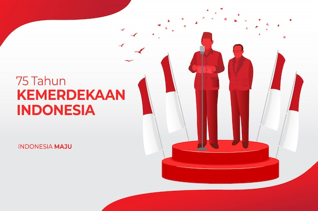 Indonesia independence day greeting card concept illustration. 75 tahun kemerdekaan indonesia translates to 75 years indonesia independence day. Premium Vector