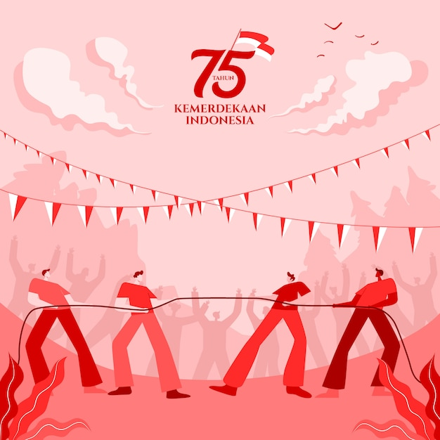Indonesia independence day greeting card with traditional games concept illustration. 75 tahun kemerdekaan indonesia translates to 75 years indonesia independence day. Premium Vector