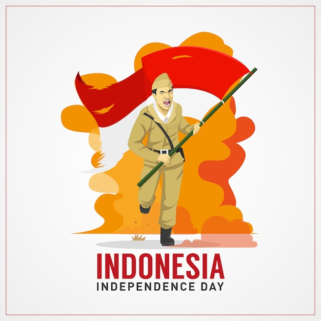 Indonesia independence day greetings card with hero carrying flag Premium Vector