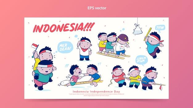 Indonesia independence day set vector cartoon illustration Premium Vector