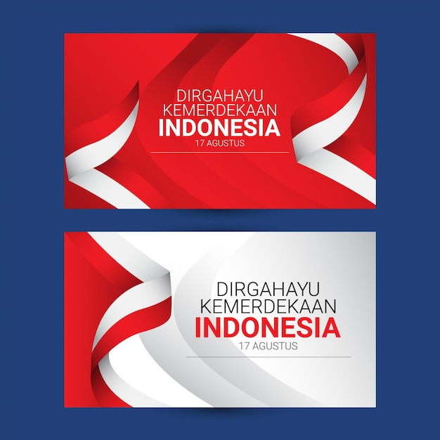 Indonesia independence day template. design for banner, greeting cards or print. Premium Vector
