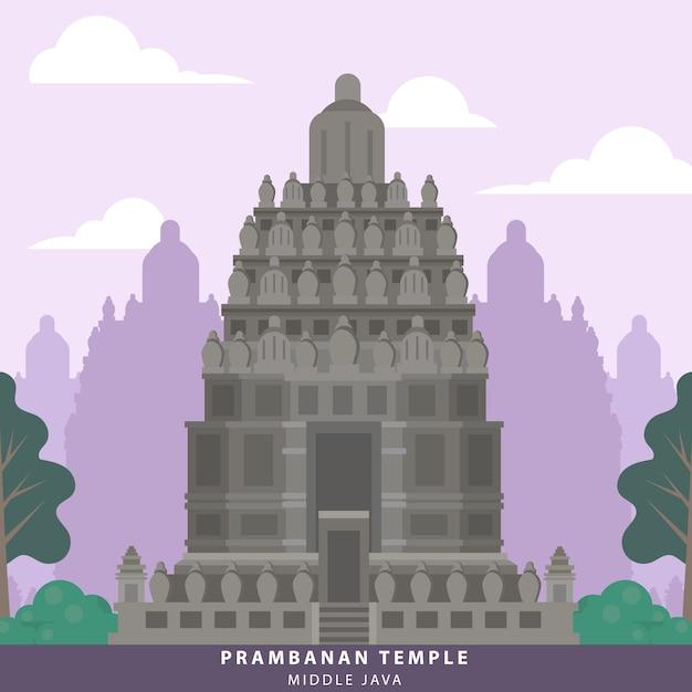 Индонезия значок храма храма прамбанан Premium векторы