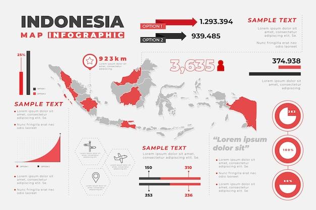 Indonesia mappa infografica Vettore gratuito