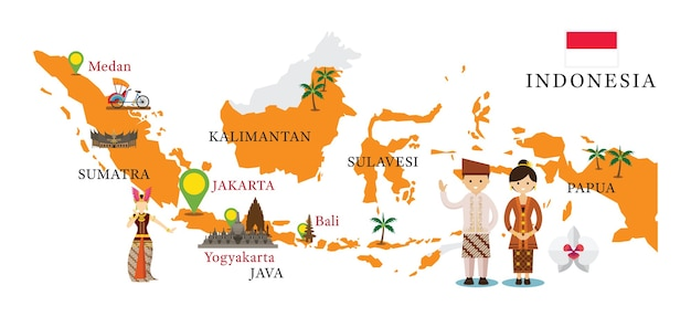 Indonesia map and landmarks with people in traditional clothing Premium Vector
