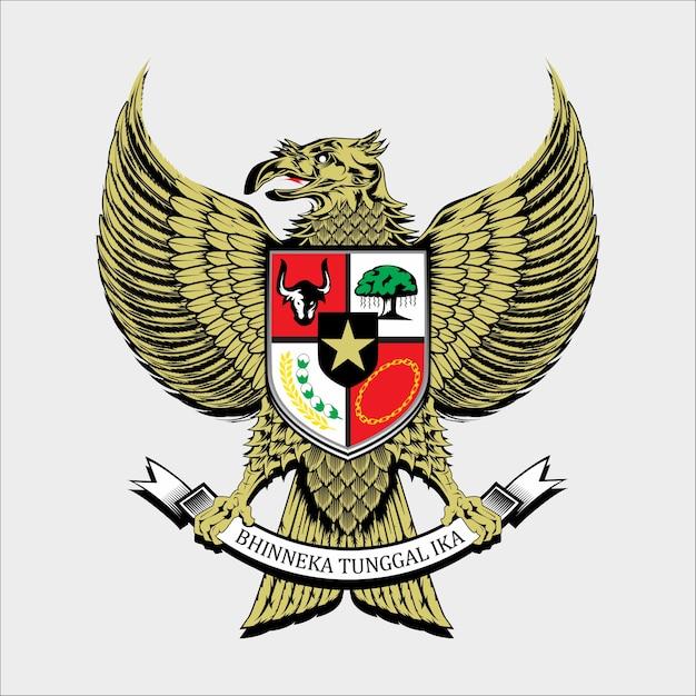 Национальная эмблема индонезии Premium векторы