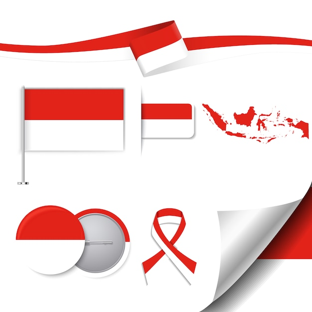 Indonesia representative elements collection Free Vector