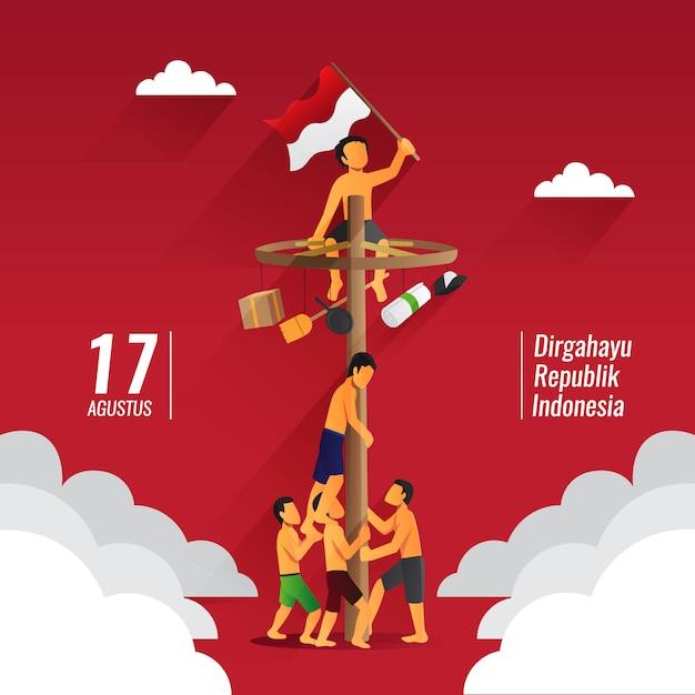 Indonesia traditional games during independence day, panjat pinang, pole climbing Premium Vector
