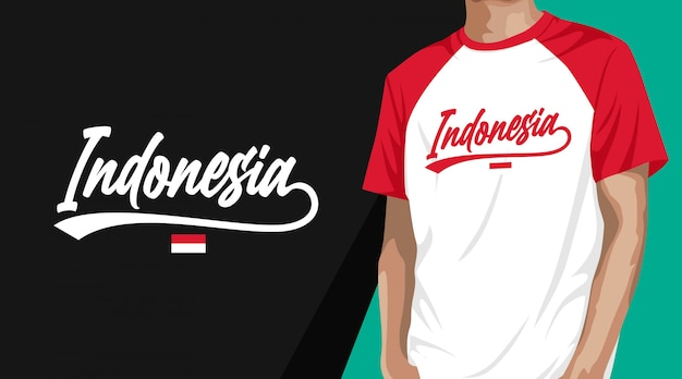 Indonesia typography t-shirt design Premium Vector