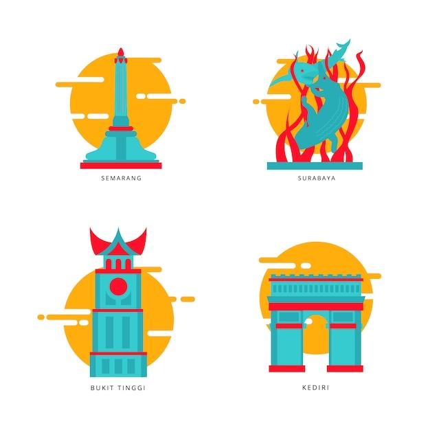 インドネシアの都市ランドマークのアイコンベクトル Premiumベクター