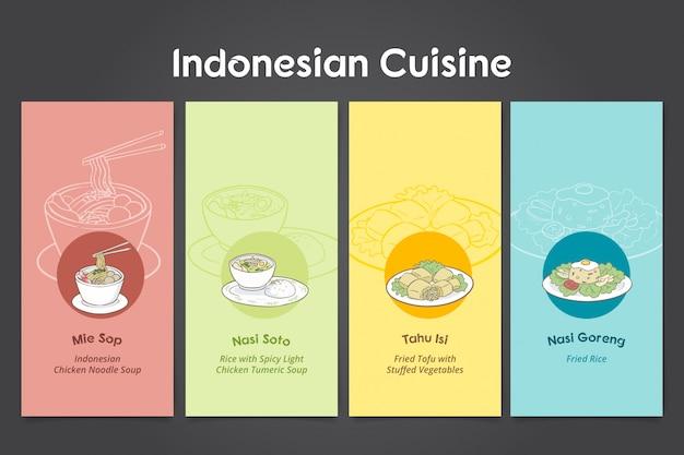 Indonesian cuisine hand drawn Premium Vector