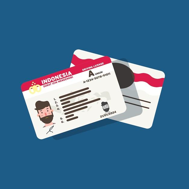 フラットアートデザインの人々と市民のためのインドネシアの運転免許証カード Premiumベクター