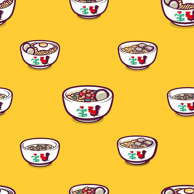 Indonesian foods in seamless pattern background Premium Vector