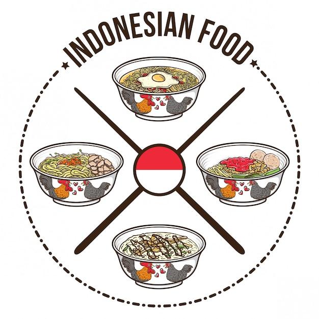 Индонезийская еда с китайским дизайном значка миски и палочек для еды Premium векторы