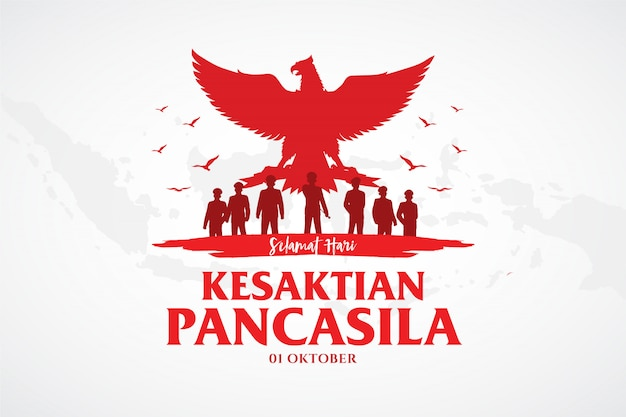 Indonesian holiday pancasila day illustration.translation: Premium Vector