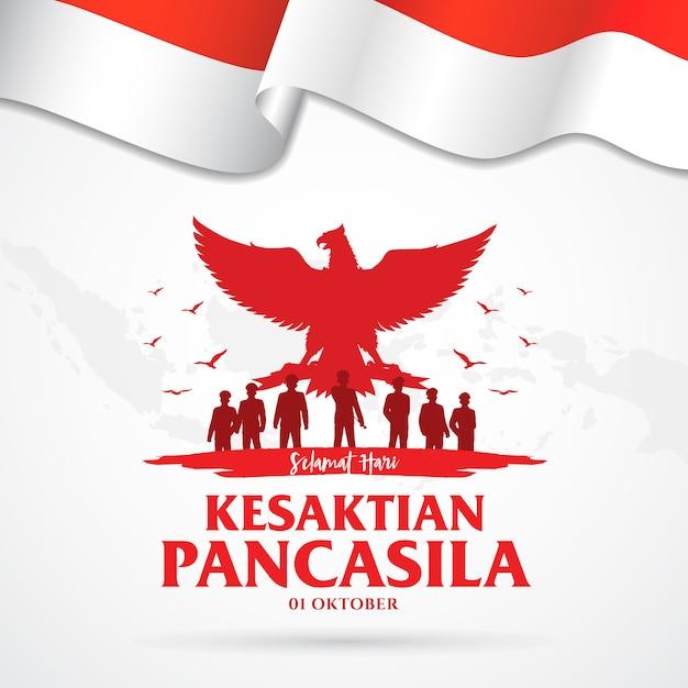 Индонезийский праздник панкасила, день иллюстрация. перевод: Premium векторы