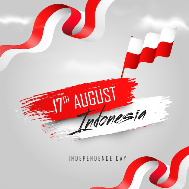 Indonesian independence day banner Premium Vector