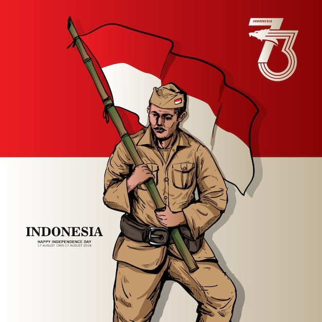 Indonesian independence day poster Premium Vector
