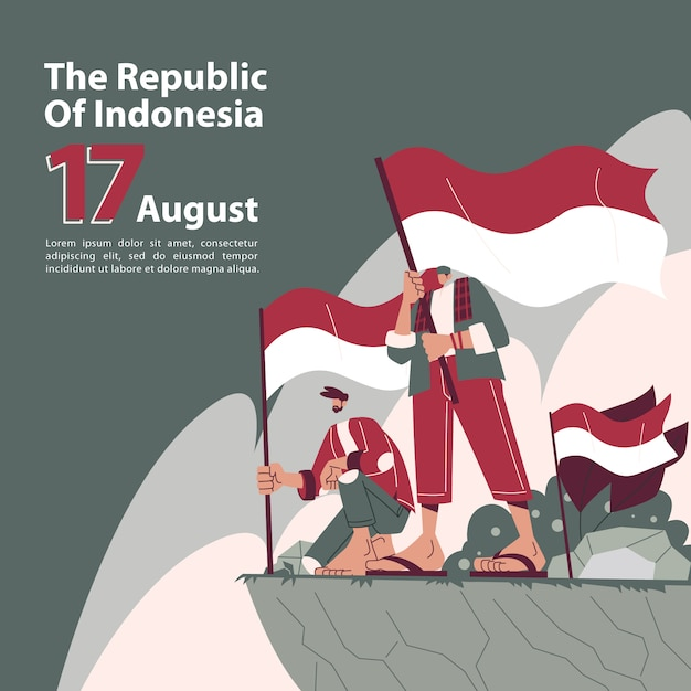 Indonesian independence day with patriot characters Premium Vector