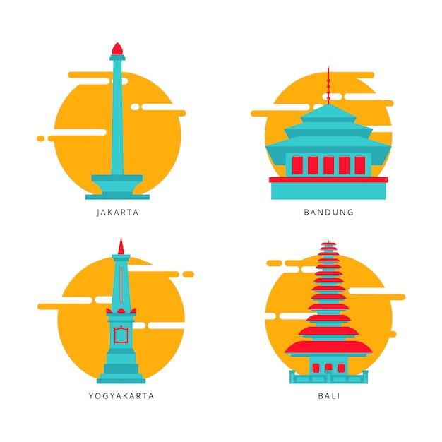 インドネシアのランドマークベクトルアイコン/イラスト Premiumベクター