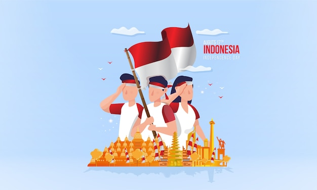 Indonesian national day with youth spirit on illustration concept Premium Vector