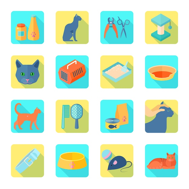 Indoor cat care accessories flat icons set with healthy vet approved food abstract shadow isolated vector illustration Free Vector