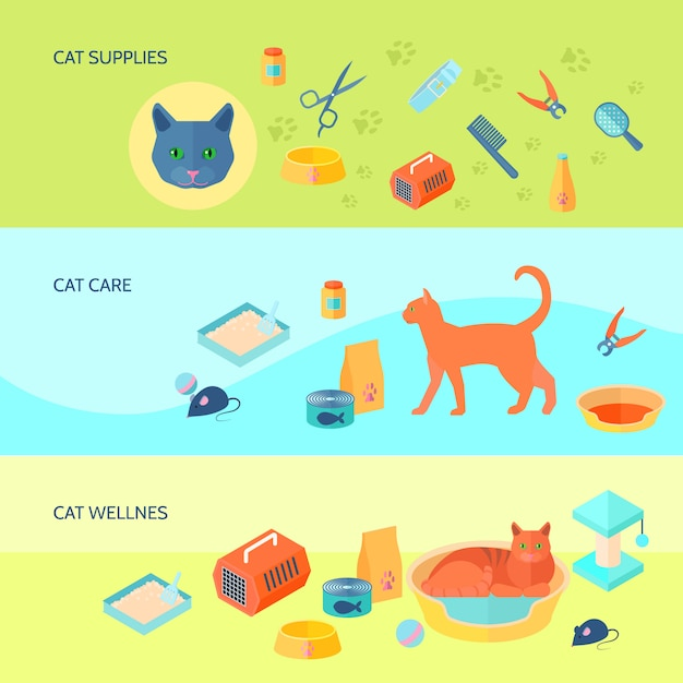 Indoor cats food and care supplies 3 horizontal flat banners set with carrier abstract isolated vector illustration Free Vector