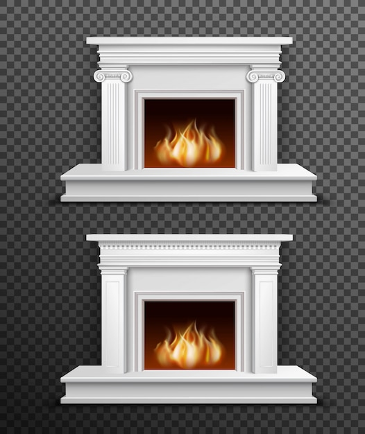 Indoor fireplace set on transparent background Free Vector